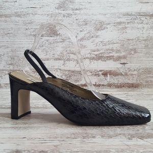 Like New Bellini Black & Gray Snakeskin Leatfer